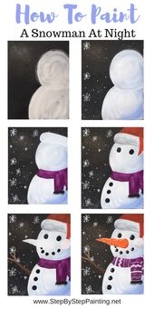 How To Paint A Snowman At Night