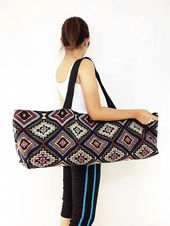 Thai handmade Handmade Yoga Mat Bag Sports Bags Woven Cotton Yoga Bag Tote Yoga Sling bag Pila...