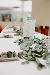 Eukalyptus Tischdekoration selbst machen Hochzeit Gypsophila Sommerhochzeit Garten Hochzeit   – HOCHZEIT