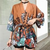 Harajuku BF wind Japanese style feather weaving blouse men and women kimono blouse