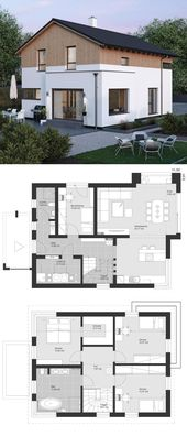 Einfamilienhaus modern im Landhausstil Grundrisse mit Satteldach Architektur, Er… – HausbauDirekt