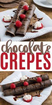 Dieses einfache Schokoladenkrepprezept macht ein dekadentes Frühstück oder einen Brunch. Diese Auswahl …