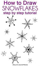 Wie zeichnet man Schritt-für-Schritt-Anleitungen für Schneeflocken mit einem kostenlosen druckbaren