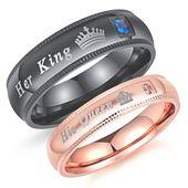 Seine Königin und ihr König Edelstahl Diamant Paar Ringe für Liebhaber Engagement   – wedding details babies br