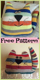 Adorable Knit Cat Cushion – Free Patterns – schöne Handarbeiten