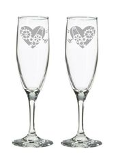 Steampunk Wedding Heart Champagne Flutes or Toasting Glasses