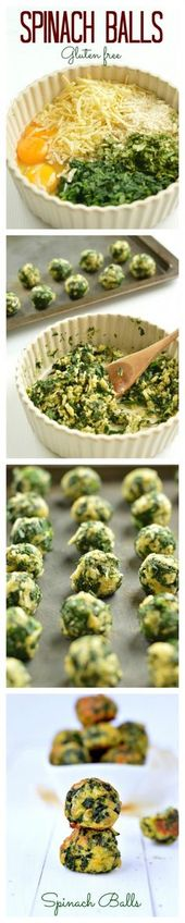 My fav Healthy Party Appetizers! Those Spinach balls are made with only 5 ingred…