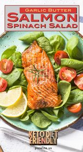 This keto diet friendly salmon spinach salad is un…