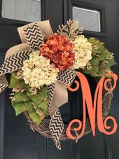 BEST SELLER -Wreaths -Fall Wreath -Seasonal Wreath -Wreath -Hydrangea Chevron Monogrammed Wreath -Fall Decor -Housewarming Gift -Gifts