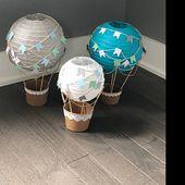 Heißluftballon Dekoration DIY Kit blau GRAU & weiß, Heißluftballon Dekorationen, Reise Thema Kinderzimmer, Reise-Thema-Dekoration – Satz von 3