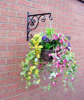2//4X Hanging Baskets Brackets Hooks Outdoor Garden Plant Hanger Wall Bracket UK#