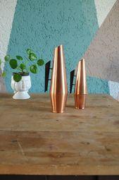 Kupfer Vasen Set Teak Griff 60er Jahre von CasaCascino auf Etsy   – CasaCascino Etsy