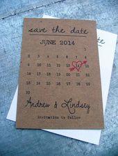 Calendrier enregistrer la date des cartes, Simple Save the Date – comprend l'enveloppe & livraison gratuite, lot de 20