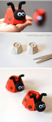 Einfacher Eierkarton-Marienkäfer – malen, basteln, kreativ sein … – Crafts