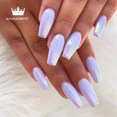 Unicorn chrome coffin nails – #chrome #Coffin #Nai…