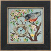 Details about Spring Robin Cross Stitch Kit Mill Hill 2015 Buttons Beads Spring MH145103