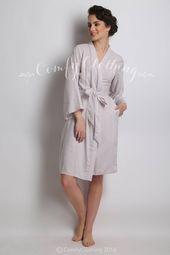 Grey Bridesmaids Robes, Monogram Robe, getting ready robes, dressing gowns, cotton kimono, wedding p