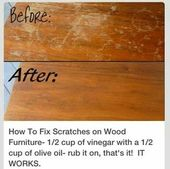 f7a01f802a61d6e3b5a896b6330eb9cd  cleaning recipes cleaning hacks How to remove scratches from wood. I'll have to try that. ^ ^               ...