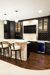 Basement Bar with Wood Flooring and Stone Wall contemporary-home-bar – #Bar #basement #conte…