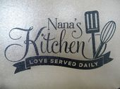 Personalized Glass Cutting Board with black feet with Nana's Kitchen or personalize with any name