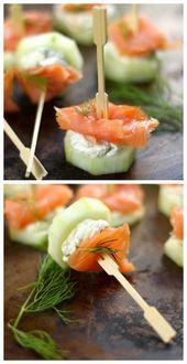 Geräucherter Lachs und Frischkäse Gurke Bites So…