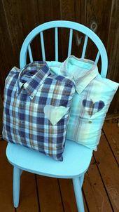 Upcycled Memory Kissenbezug (mit Kleidung von Ihrem geliebten Menschen gemacht) Trauer Unterstützung Komfort Kissenbezug, 16 X 16 cm Platz
