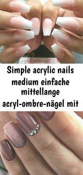 Einfache Acrylnägel mittel Einfache, mittellange Acrylnägel mit silbernem Glitzer, #acryl # 1   – Nagel
