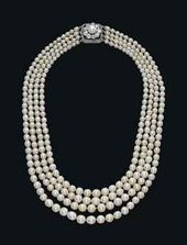 A FOUR-STRAND NATURAL PEARL AND DIAMOND NECKLACE C…