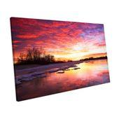 Mercury Row Leinwandbild Winterliche Landschaft bei Sonnenuntergang | Wayfair.de