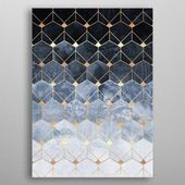 Blue Hexagons And Diamonds by Elisabeth Fredriksson | metal posters