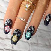 Christmas Baubles Nails / Nail Art – Click link below this photo for full descri…