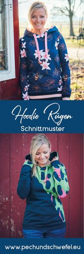 E-book hoodie Rügen with and without dividing seam pattern