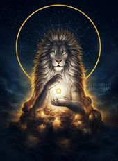 Soul Keeper – Signed Fine Art Giclee Print – Wall Decor – Fantasy Lion – Painting by Jonas Jödicke