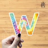 "Letter ""W"" Tie Dye Vinyl Sticker, Best Friend Gift, Laptop Decals, Name Stickers, Monogram, Macbook"