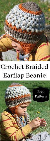 Crochet toddler braided earflap beanie –