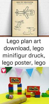 Lego Plan Art herunterladen, Lego Minifigur drucken, Lego Poster, Lego Spielzeug, Kinderzimmer Wandkunst 10   – Lego