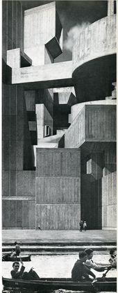 """weiter: """"Ivor de Wolfe & Kenneth Brownes Collage für einen Vorschlag für eine britische Neustadt mit einer Million Einwohnern, 1971 (über hier)"""""""