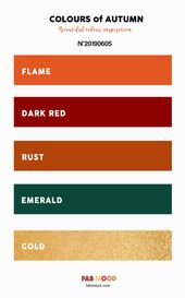 Flame + Dark Red + Rust + Emerald and Gold