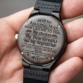 ENGRAVED WOODEN WATCH – GREAT GIFT FOR MAN – Forever Love