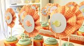 aqua and orange goldfish first birthday party DIY rosette cupcake toppers