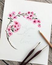 Blumen Halbkreis #aquarell #watercolor °