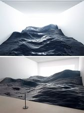 Japanese Artwork Collective 'Mé' Creates a Hyperrealistic Panorama of Ocean Waves on the Mori Artwork Museum