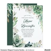 Greenery | Elegant Country Garden Bridal Shower Invitation | Zazzle.com