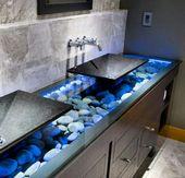 Floating blue rock wood natural bathroom sink