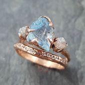 Für diejenigen, die ihren Aquamarin und Diamanten rau und in Rotgold lieben. #S…