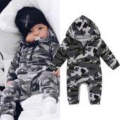 Mode Nouveau-né Infantile Bébé Garçon Barboteuse Camouflage À Capuche Combinaison Body Vêtements Chauds Outfit   – Future
