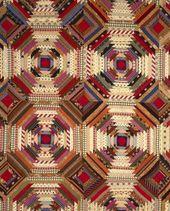Quilt, 'Log Cabin' Pattern, 'Pineapple…