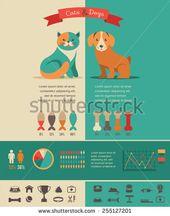 Katze infographics mit den eingestellten Vektorikonen und Elementen – Vektor auf Lager