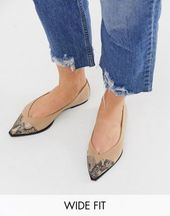DESIGN Wide Fit Legend pointed toe cap ballet flats