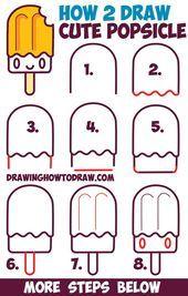 Wie niedliche Kawaii Popsicle / Creamsicle mit Gesicht drauf zeichnen – Easy Step by Ste – #creamsicle #drauf #gesicht #kawaii #niedliche